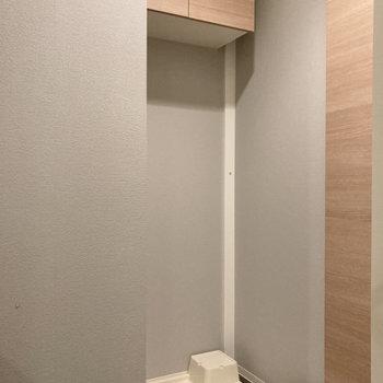 洗濯機置き場には収納棚が付いています。
