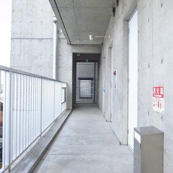 【共用部】共用部もコンクリートです!ドアも白一色で、洗練された印象。