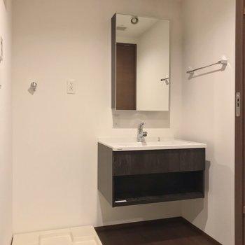 洗面台の上にはライティングレール。植物を吊り下げても素敵です。(※写真は1階の同間取り別部屋のものです)