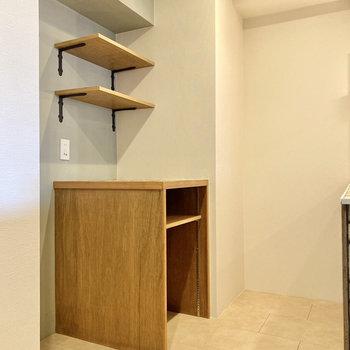 【LDK】冷蔵庫や電子レンジはキッチン後ろへ。