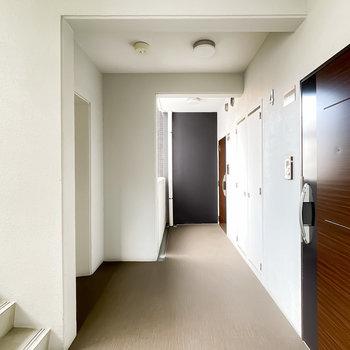玄関前も綺麗に整えられています。エレベーターもすぐ近く。