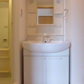 洗面台も大きめ(※写真は7階の同間取り別部屋のものです)