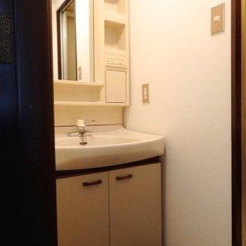 洗面台はどっしりしています。(※写真は5階同間取り別部屋のものです)