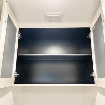 ペーパーのストックはこちらの棚に。※文章・写真は6階同間取り・別部屋のものです