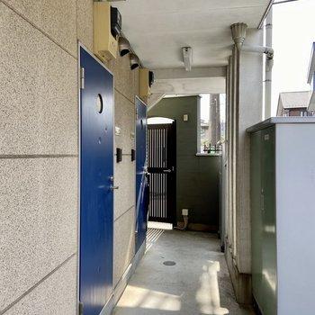 青い可愛らしい玄関扉です。