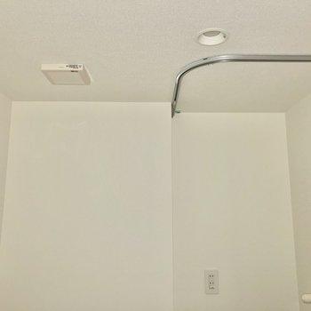 洗濯機置き場はカーテンを付けて目隠しも可能です。※写真は通電前・フラッシュを使用しています