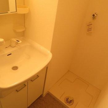 洗面脱衣所がお風呂の横に(※写真は5階反転間取り別部屋のものです)