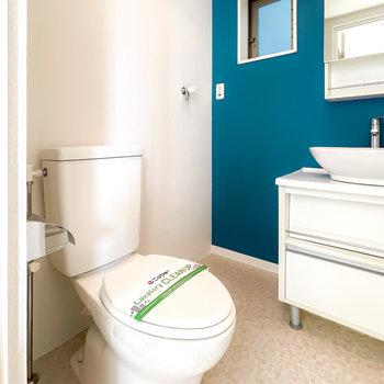 トイレも同室なのが海外風。コンセント付きなのでウォシュレットも後付け可能。