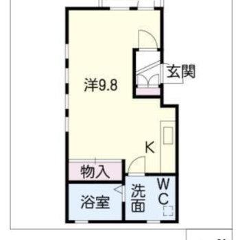 ちょっぴり広めのワンルーム。一人暮らし向けのお部屋です。