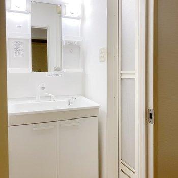 反対のドアを開けると多機能独立洗面台。脱衣スペースは少しコンパクトでした。(※写真は清掃前のものです)