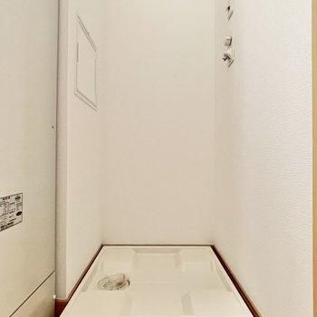 ランドリーラックを置くと、ランドリーアイテムもスッキリしそう。※写真は5階の同間取・別部屋のものです