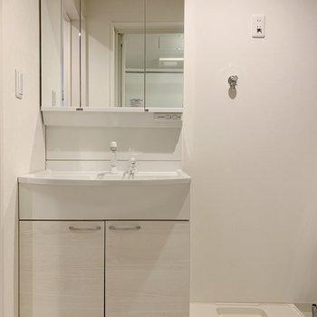 収納力のありそうな洗面台です。(※写真は3階の同間取り別部屋のものです)