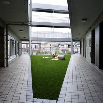 共用部には人工芝生の中庭がありました!
