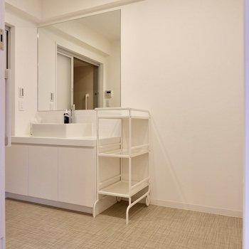 広々とした脱衣所と大きな洗面台。