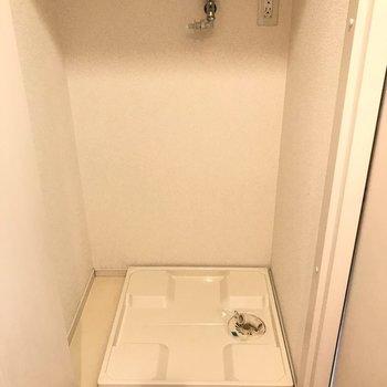 洗濯パンは扉付きで隠せます。(※写真は3階の同間取り別部屋のものです)