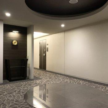 こちらはフロアのエレベーターホール。床と天井の円が印象的な空間です。