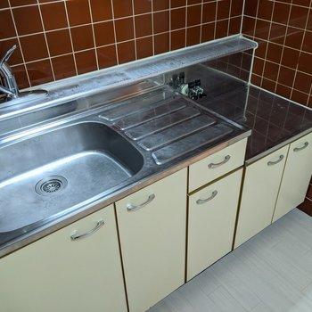 【キッチン】レバー式なので温度調節がしやすいです。コンロは持ち込みです。