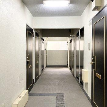 ブラックの扉がまっすぐに並びます。