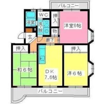 家族で住みたいゆったり3LDK。(※間取り図は反転、玄関横が洋室、サブバルコニー側が和室です)