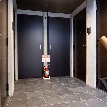 玄関前共用部。ブラックを多く使っていてカッコイイ雰囲気です。