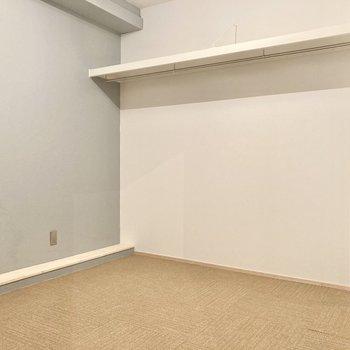 こちらの収納も壁一面!ハンガーポール付きが嬉しい!