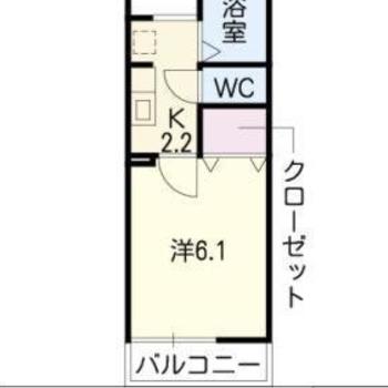 お部屋は1Kの間取りです。