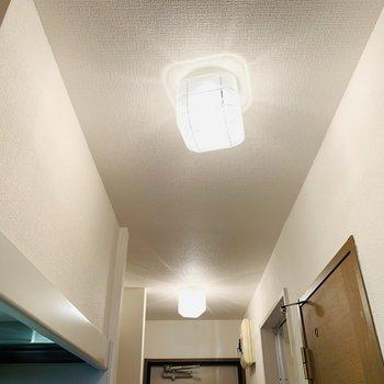 照明がなんだか特徴的で素敵。(※写真は2階の同間取り別部屋のものです)