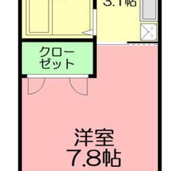 約8帖の1Kのお部屋です。