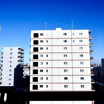 眺望は距離の離れた建物と、絵の具を引き伸ばしたような青空。