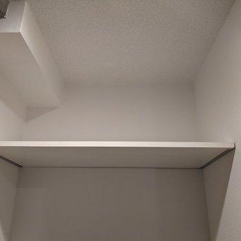 トイレ上には棚があります。トイレットペーパーや掃除道具などを置けますよ。