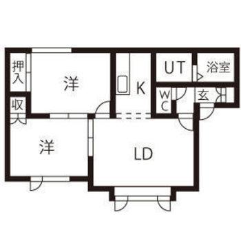 2人暮らしでも快適な2LDKのお部屋。