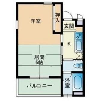 居間は和室。ゆったり暮らせる1Kのお部屋です。(※実際は反転間取りです)