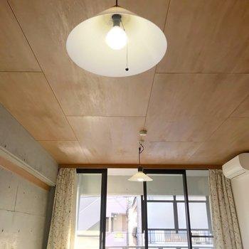 天井にも木目が走ります。抜かりない。