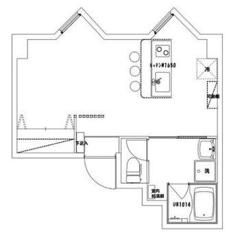 居室とキッチンを6:4の比率でデザイン。