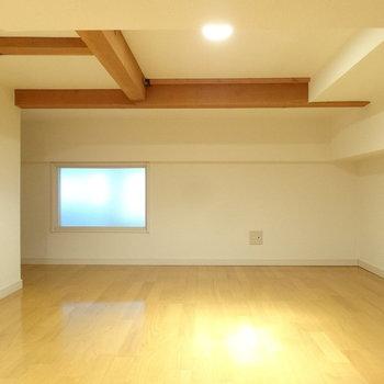 ロフトは結構な広さ。天井が凸凹してるので頭上注意です。