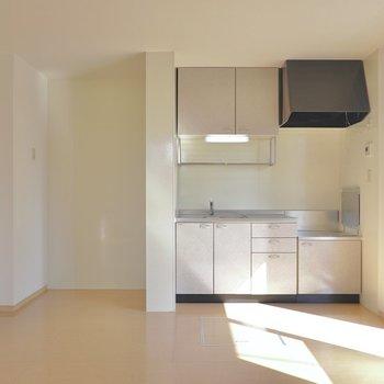 対面側にはキッチン。(※写真は1階の同間取り別部屋のものです)
