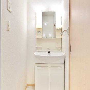 右手には棚付きの洗面台。左のスペースに収納も置けそうです。(※写真は1階の同間取り別部屋のものです)