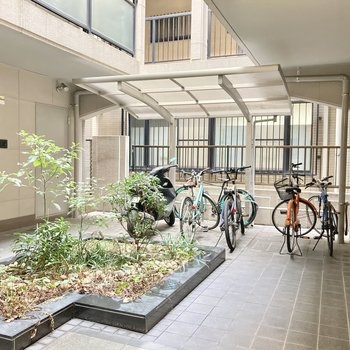 自転車置き場はエントランスの中にありました。