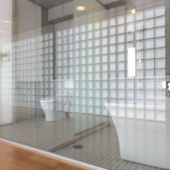 水回りはガラス張り。スタイリッシュです。※写真は4階の同間取り別部屋のものです