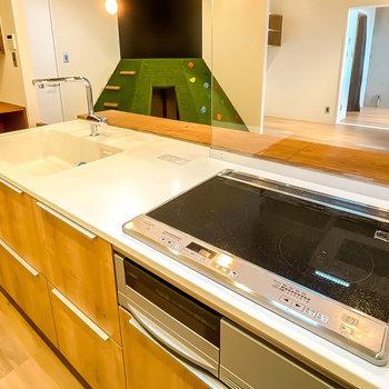 グリル付きの2口IHコンロで、調理スペースもシンクも使いやすい広さが確保されています。