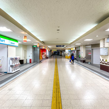 お部屋から歩いて1分ほどで改札へ。特急も出ているので、名古屋へお勤めの方でも便利に暮らせるはず!