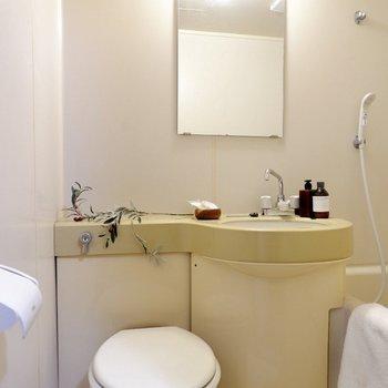 バスルームは3点ユニットタイプ。