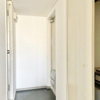 玄関はゆったりめ。靴箱代わりにラックを使うのがいいかな。