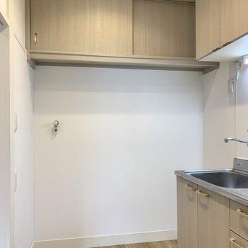 隣に洗濯機置き場。上部に洗剤が仕舞えますよ。