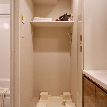 洗剤などは洗濯機置き場の上にも置けます。