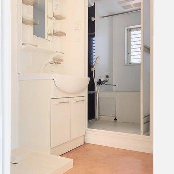 脱衣所へはリビングから。大きな洗面台は朝の大きな味方!(※写真は4階の同間取り別部屋、清掃前のものです)