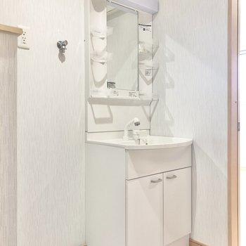 洗面台と洗濯機はセットで配置。(※写真は1階の同間取り別部屋のものです)