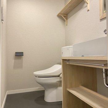 サニタリーの奥に温水洗浄便座つきのトイレ、手前に独立洗面台がありますよ。