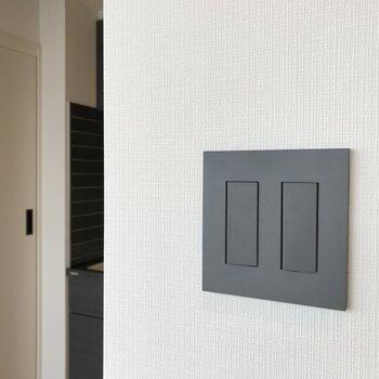 スイッチのデザインもいい感じでしょ。※写真は7階の似た間取り、別部屋のもの