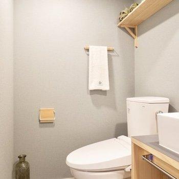 トイレと洗面台は隣り合わせ※写真は4階の似た間取り、別部屋のもの